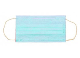 Маска трехслойная на резинках Голубая