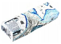 Подлокотник для рук кожаный карта мира голубая