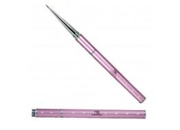 Кисть для дизайна волосок розовая складная