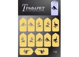 Трафарет для дизайна ногтей Т58
