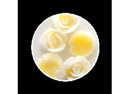 Силиконовые розы маленькие бело-жёлтые