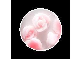 Силиконовые розы маленькие бело-коралловые