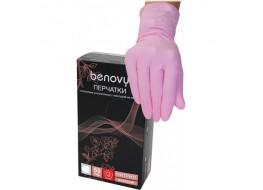 Перчатки BENOVY нитриловые M розовые