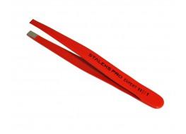 Пинцет ТЕ-11/1 для бровей  широкий прямой  красный