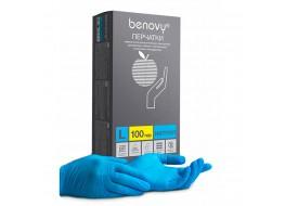 Перчатки нитриловые L 100 шт голубые BENOVY