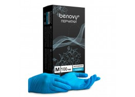 Перчатки нитровиниловые M 100 шт голубые BENOVY