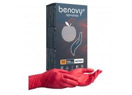 Перчатки  нитриловые M 100 шт красные BENOVY