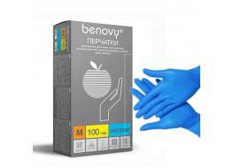 Перчатки нитриловые M 200 шт голубые BENOVY