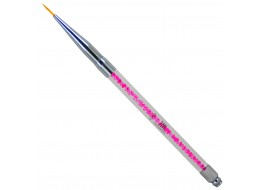 Кисть для дизайна волосок № 000 с розовыми кристаллами