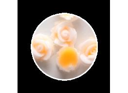 Силиконовые розы маленькие бело-оранжевые