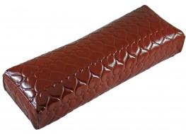 Подлокотник для рук кожаный глянцевое сердце коричневое
