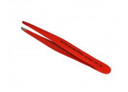 Пинцет ТЕ-11/4 для бровей узкий скошенный красный