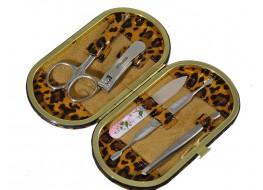 """Маникюрный набор Сталекс """"Рамка""""овал 5 предметов НМ-04/3 (леопард коричневый)"""