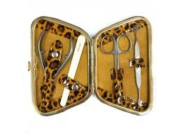 """Маникюрный набор """"PETIT"""" 4 предмета МS-04/4 (леопард коричненвый)"""